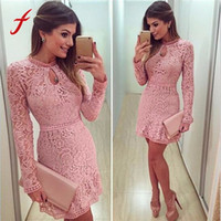 2017 봄 섹시한 여자 드레스 달콤한 핑크 할로우 레이스 긴 슬림 라운드 - 목 파티 이브닝 짧은 미니 드레스 Vestidos