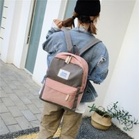 contrast color campus school bags for teenagers girls New Ja...