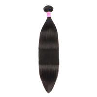 البرازيلي مستقيم الشعر الإنسان اللحمة حزم مع إغلاق 100٪ غير المجهزة عذراء الشعر مع الرباط إغلاق اللون الطبيعي للشعر إمتداد DHL