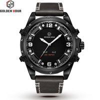 Relogio Hombre GOLDENHOUR Sport Genuine Leather Men Watch Automatic Military Analog Auto Date Man Watch 2019 Relogio Masculino