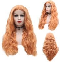 Synthetic RONGDUOYI uso diário Laranja Cabelo parte dianteira do laço peruca longa Curly perucas para mulheres negras Glueless Lace Wig com Natural Hairline