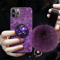 Diamant de luxe mignon cheveux boule Longe Support souple pour l'iphone 11 X XS XR pro MAX 7 8 6S avec son support 3D Bling Crystal Cover