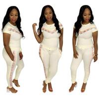 Frauen 2pcs Designer Confortable Kleidung stellt Mode-Sport-beiläufige Tracksuits Pailletten Panelled Frauen-Sommer-dünne Klage
