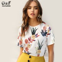 wholesale White Floral And Plants Print Tee Women 2019 Summe...