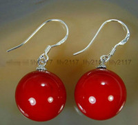 Fashion 10mm Red Shell Pearl Beads Silver Drop Dangle Hook E...