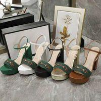 sexy di alta un'estate Classic sandali tallonati lusso casual donna Chunky tacchi alti sandali del metallo del progettista sandali della signora in pelle grande formato 35-42