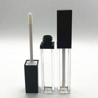 Hohe Qualität 8ML Quadratisch Schwarz Leer Lipgloss Tubes Flüssig Lip Gloss Flasche Klar Lipgloss Mehrwegflaschen Container Makeup Verpackung