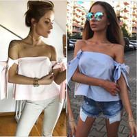 Donne sexy modo delle signore Estate Fuori-spalla casuale camicette Crop Tops femminile camicia di modo 2019 NUOVI arrivi