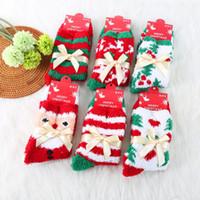 크리스마스 양말 Bowknot 따뜻한 산호 따뜻한 성인 크리스마스 여성 겨울 양말 크리스마스 선물 6 색을 위로 산타 양말 귀여운 엘크 아래로
