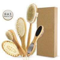 Body Massage setola naturale esfoliazione favorisce la circolazione sanguigna SPA Dry Brush Set bagno spazzola per il corpo