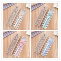 Couverts Portable Environnement Santé Blé paille Chopstick fourchette cuillère 3 pces Dans boîte réutilisable Vaisselle de vaisselle