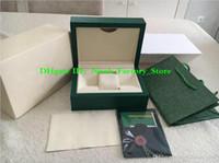 Melhor qualidade presentes de natal caixa de relógio verde caixa de presente para 116610 relógios etiquetas de cartão de livreto e papéis em inglês caixas de relógios bolsa
