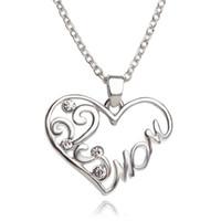 Regalo del día de madre del corazón joyería Collares collares pendientes cristalinos de la manera del amor para las mujeres Bijoux Collar Para la madre