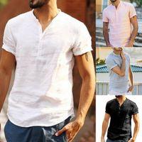 Erkek Üstler Tees 2019 Yaz Yeni Keten V boyun Kısa Kollu T gömlek Erkekler Moda Trendleri Spor Tişört Tops Tee artı boyutu M-3XL