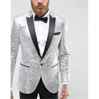 Erkekler Takım Elbise Blazers Damat Smokin Custom Made Düğün Erkekler Groomsmen GQER Sequins 2 Parça Düzenli Stil (Ceket + Pantolon + Kravat) E435