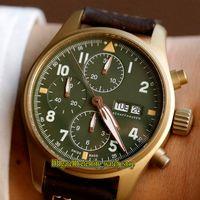 ZF Top версия Pilot Spitfire истребитель серии Bronze Case 387902 светящимся циферблатом ETA A7750 хронограф Механические Мужские часы Секундомер Часы