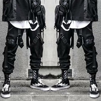 Hip Hop Mens Pants Bandage Black Dancing Pants with Pockets ...