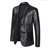 Plus Size Mens Big PU-Lederjacken beiläufige Einreiher Bekleidung Mäntel Designer-Jacke 5XL 6XL