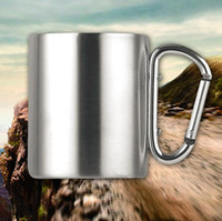 Edelstahl Cup Camping Reisen Outdoor Cup Doppelwand Becher mit Karabinerhaken Griff 220ml 300ml 350ml mit Box Geschenk