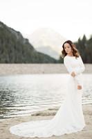 2019 새로운 크레페 간단한 겸손한 웨딩 드레스 긴 소매 레이스 아플리케가 전체 소매 국가 여성 비공식적 인 신부 가운