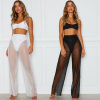Womens Summer Beach Mesh Sheer See à travers le pantalon Vogue taille haute transparente pantalon à jambe large Clubwear Holiday Beach Pantalon