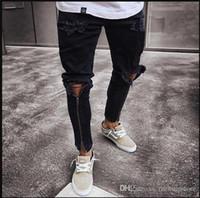 Los hombres de la cremallera agujeros Diseñador Jeans Negro rasgado Slim Fit Represen lápiz de los pantalones