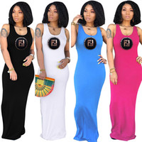 Robe longue Double F Lettre Maxi Dress Summer femmes Slim Bodycon Solid Color sans manches Gilet Tank Beach Jupes Club Party robes C42407