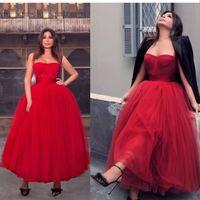 2020 New Red Spaghetti Strap Ball Gown Abiti Ankel Lunghezza Abiti da sera Sexy Sweetheart Musulmano Arabo Arabo Tulle Abiti da donna Abiti da donna Abbigliamento