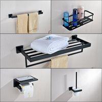 Salle de bains Accessory Set 304 papier Porte-serviettes en acier inoxydable Porte-tablette d'angle WC Porte-brosse noir mat bain matériel