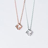 delicate rose gold cz charm S925 silver female Korean neckla...