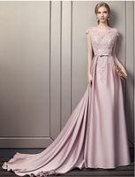 Dusty Pink Satin длинное вечернее платье с бисером кружева 2020 с короткими рукавами Вечернее платье на молнии