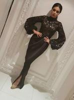 Elegante dubai saudita manga longa manga longa sereia vestidos de noite sheer lantejoulas preto muçulmano negro furar longos pomar de mariée vestidos de festa