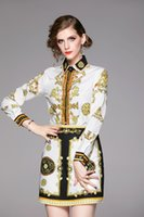2020 Frühling, Sommer, Herbst Runway 2ST Frauen-Damen-Sets Vintage-Barock-Druck Kragen Langarm Tops Hemd-Bluse Minirock Outfit Anzüge
