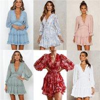 6 mujeres de los estilos de los vestidos vestido de la gasa pliegues de primavera y verano con cuello en V color sólido elegante blanco de manga larga vestido de moda temperamento retro