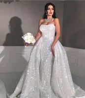 Glitter sirène robes de mariée de style arabe avec le train détachable Sweetheart pleine Paillettes Taille Plus Pays Robe de mariée Dessus de jupe