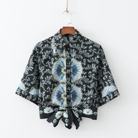 Positioning Flower Printed Blouses Womens Short Knot Sexy Su...