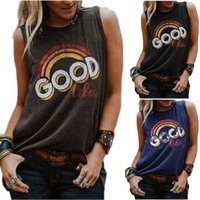 Rainbow Designer Womens Vests Good Vibes Letters Printed Sle...