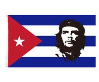 freies Verschiffen Großhandelsfabrikpreis 100% Polyester 90 * 150cm 3x5 fts Kubanische Revolution Held EI CHE Ernesto Guevara Flagge für Dekoration