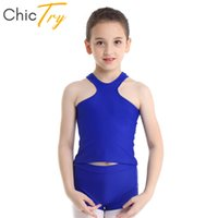 ChicTry Kids Teens из двух частей спортивной балетной гимнастики с кружевными шортами с Racerback Tank Top Set Дети практиковать танцевальную одежду