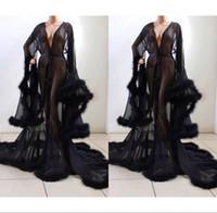 Accappatoio nero per le donne Plush Cuff Figura intera Abbigliamento intimo camicia da notte pigiama da notte di rivestimento di lusso abiti da notte Vestaglia Lounge Wear