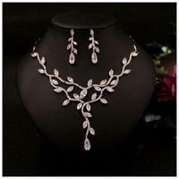 Zircon bröllop smycken sätter choker halsband bröllop halsband och örhängen för kvinnor blommiga bröllop tillbehör