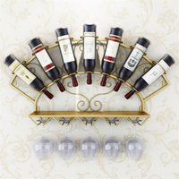 Wine metal moderno Titular rack 7 garrafas montado na parede do frasco de vinho cremalheira Copos armazenamento prateleira para Whiskey Vinho Tinto Preferências