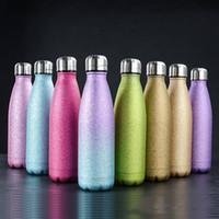 Wasserflasche Glitter Thermosbecher Cola Shaped Edelstahl Tumbler Outdoor Sports Kaffeetassen Insulated Cups Küchenzubehör D6762
