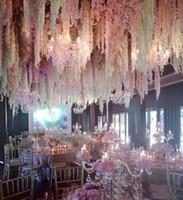 زهرة الحرير الاصطناعية الوستريا زهرة الكرمة حائط حديقة المنزل معلق زينة حفل زفاف Rattan Xmas