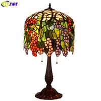 Fumat vidro manchado tiffany candeeiro de mesa de cobre mosaicos de mosaico de flores de uva aulas de arte decoração de mesa luz antigo led