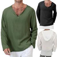 Verano de los nuevos hombres de algodón de lino de manga larga camisetas con capucha suelta Camiseta floja fresca cuello en V Tops sólido Streetwear