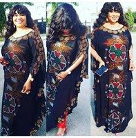 Nouvelle Haute Couture Superbe strass perles Robes à manches longues à encolure dégagée Maxi Robe Taille Plus élégant Robes Femmes Africaines H3