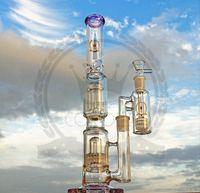 Farbige glas bong 16inches huka hohe stecken dicke wasserrohr inline perc dab ölige rig bongs schwere große wachs rosa becher rohre