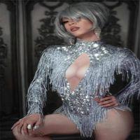 Disfraces de baile de salón X29 Diamantes de imitación brillantes Mono ajustado con flecos de plata Cristales Body de borlas Vestido de leotardo elástico vestir modelos