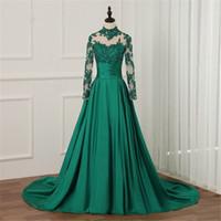 2018 wanshandress green lace uma linha vestidos de noite vestidos personalizados trem vestidos de noite mangas compridas vestido de baile robe de soiree